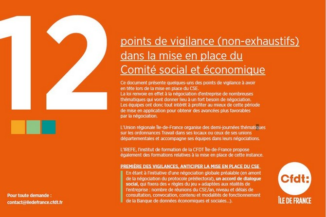 Cfdt 12 Points De Vigilance Dans La Mise En Place Du Cse
